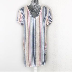 Cloth & Stone Striped V Neck Multi Color Dress